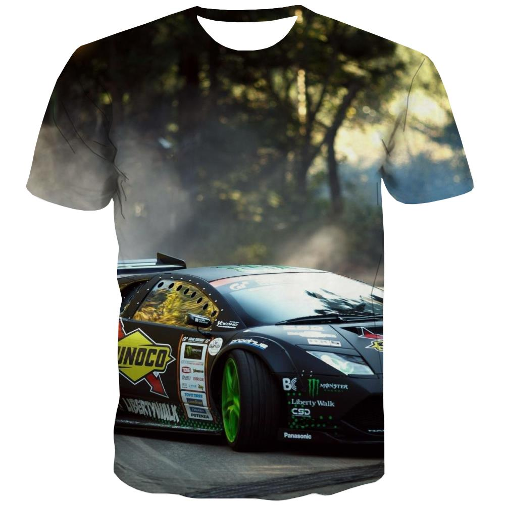 Racing Car T-shirt Men Metal Shirt Print City T-shirts 3d Gray Tshirts Cool Retro Tshirt Anime