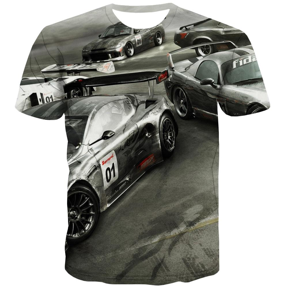 Racing Car T shirts Men Metal Tshirt Printed City T-shirts 3d Gray Tshirts Casual Retro Tshirt Anime