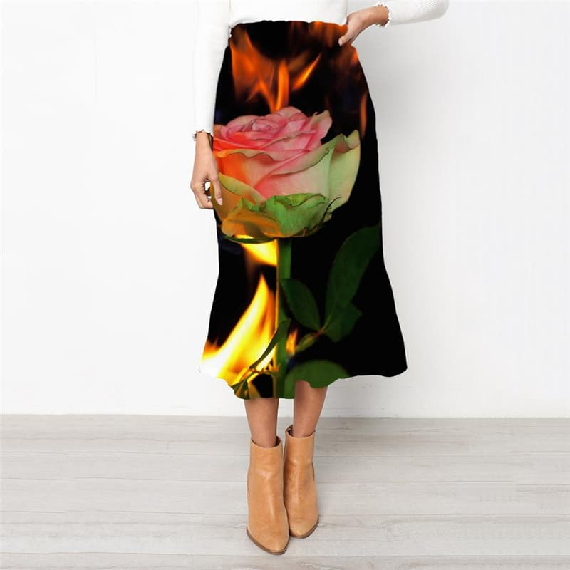 Flame Skirts Women Art Rock Frauen Flower High waist skirts Womens Clothing