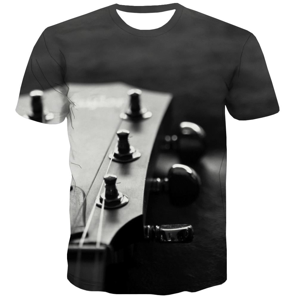 Guitar T-shirt Men Music T-shirts 3d Wooden Tshirts Cool Metal T-shirts Graphic