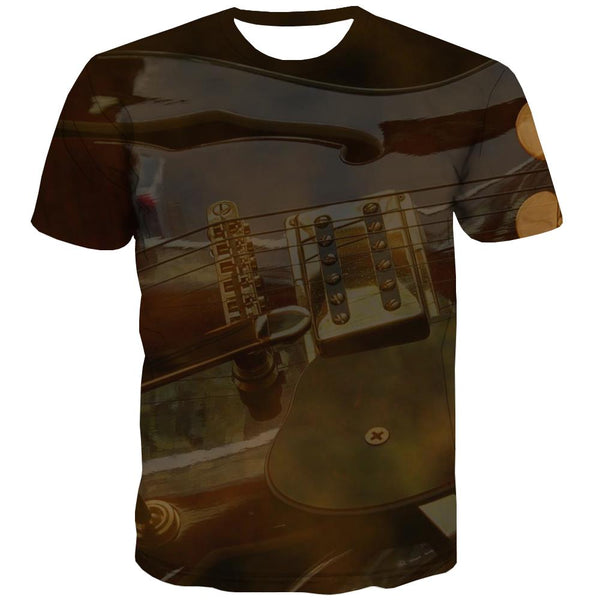Guitar T-shirt Men Music T-shirts 3d Wooden T shirts Funny Metal Tshirts Cool