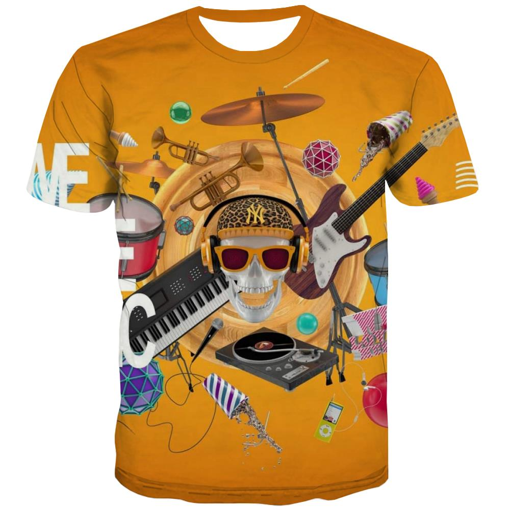 Music T-shirt Men Instrument Tshirt Anime Retro T-shirts Graphic Electronic Tshirt Printed