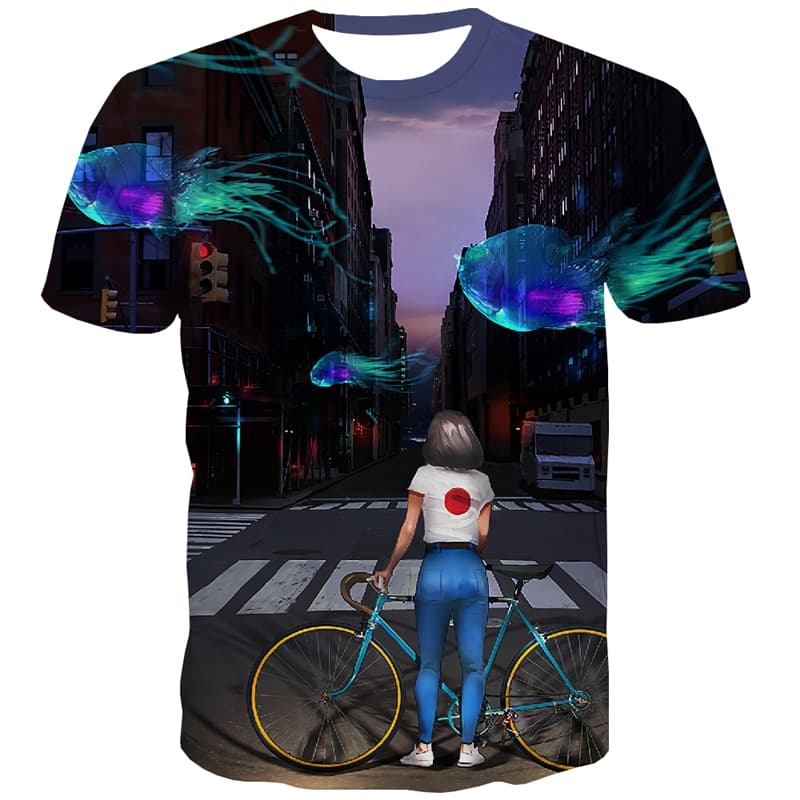 City T shirts Men Bicycle Tshirt Anime Novel T-shirts 3d Harajuku Tshirts Cool