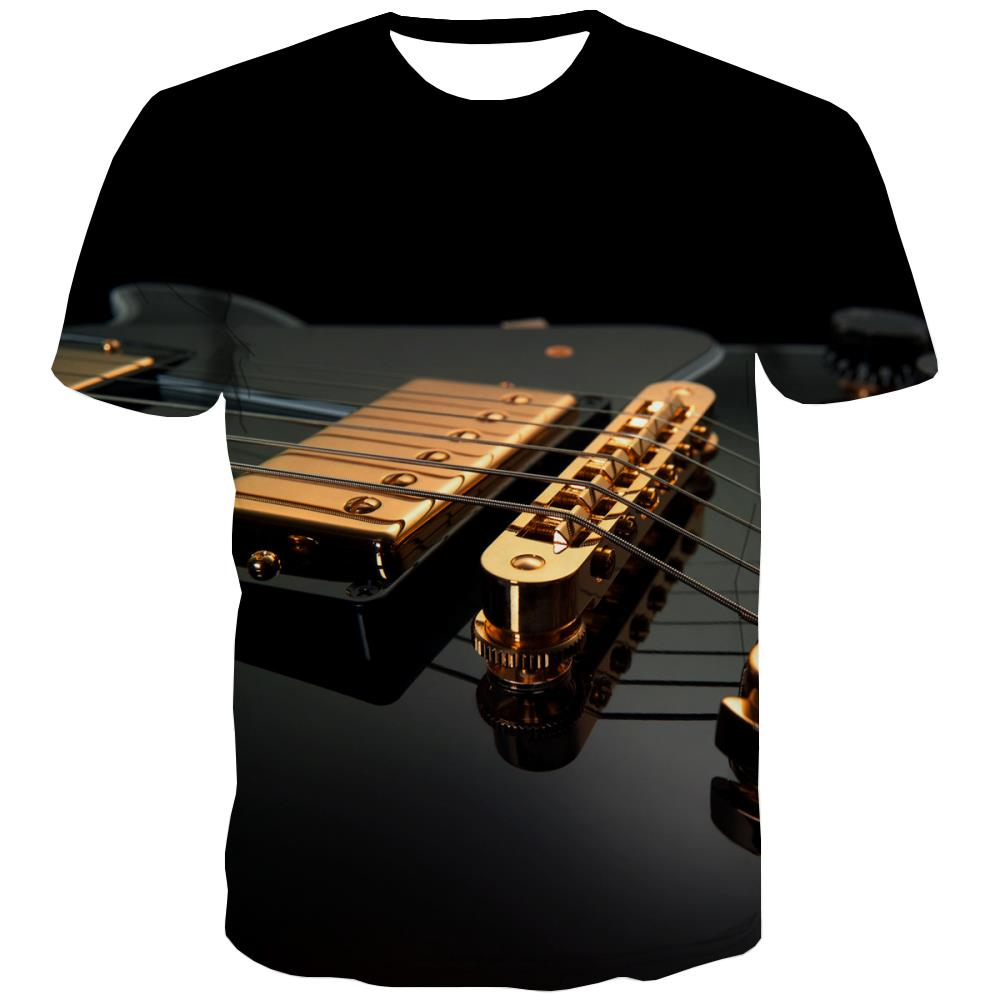 Guitar T-shirt Men Music Shirt Print Wooden T-shirts Graphic Metal Tshirts Casual
