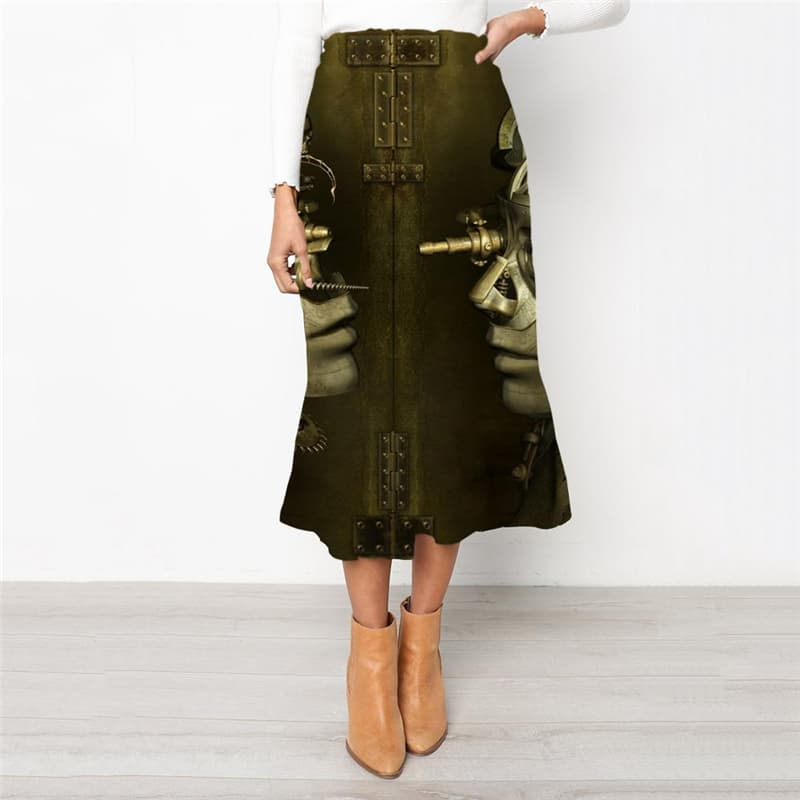 Metal Skirts Women Engine High waist skirts Gear School skirt  Skirt Ladies Punk Rock Rock Frauen