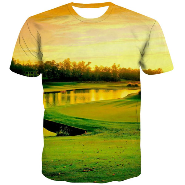 Lawn T shirts Men Golf Tshirts Casual Forest Tshirt Anime Natural Tshirts Cool Game Shirt Print