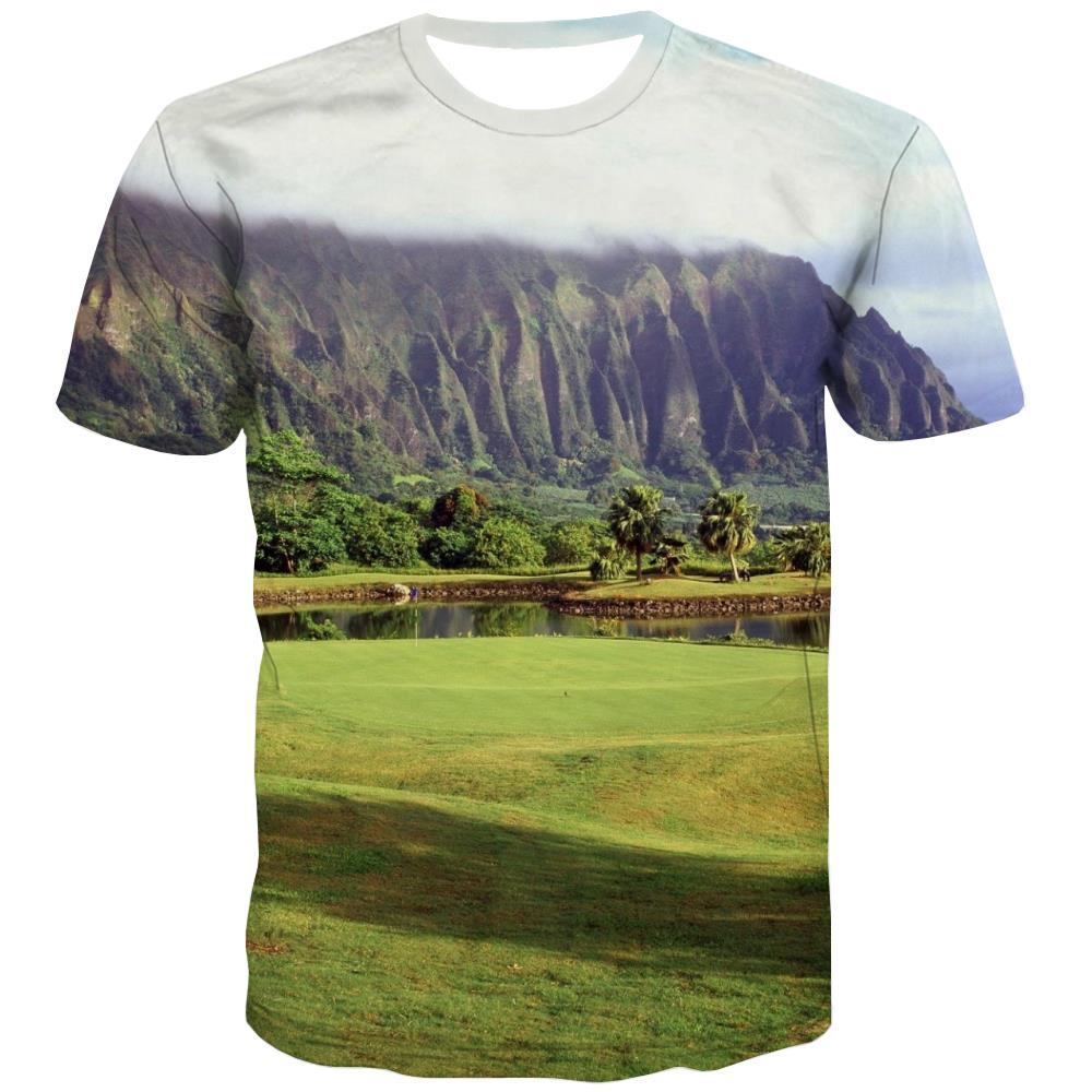 Lawn T-shirt Men Golf Tshirt Anime Forest T shirts Funny Natural T-shirts 3d Game T-shirts Graphic