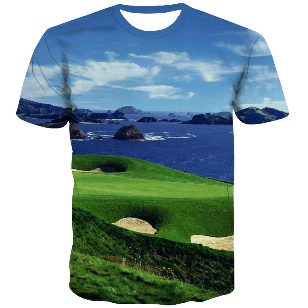 Lawn T shirts Men Golf T shirts Funny Forest Tshirt Anime Natural Tshirts Novelty Game Tshirts Casual