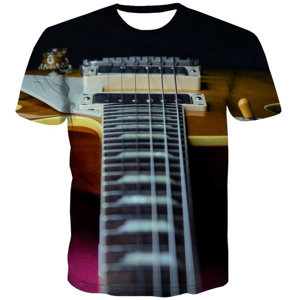 Guitar T shirts Men Music Tshirts Novelty Wooden T-shirts Graphic Metal Tshirt Anime