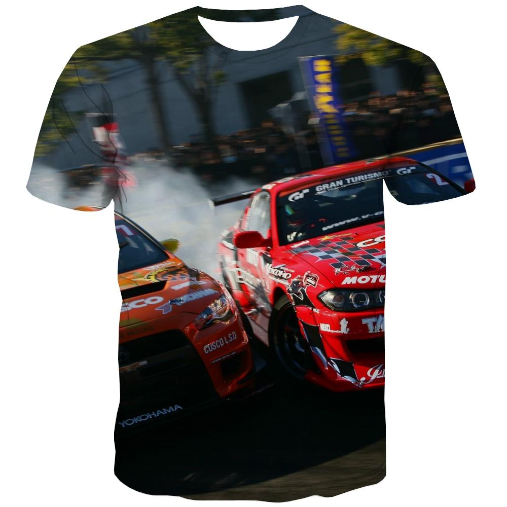 Racing Car T-shirt Men Metal T-shirts Graphic City Tshirts Novelty Gray Tshirt Printed Retro Tshirts Casual