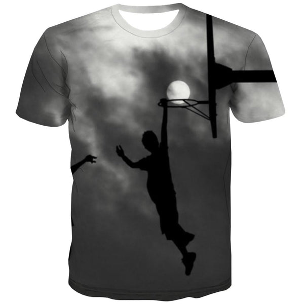 Basketball T shirts Men Night View T shirts Funny Galaxy Shirt Print City Tshirts Novelty