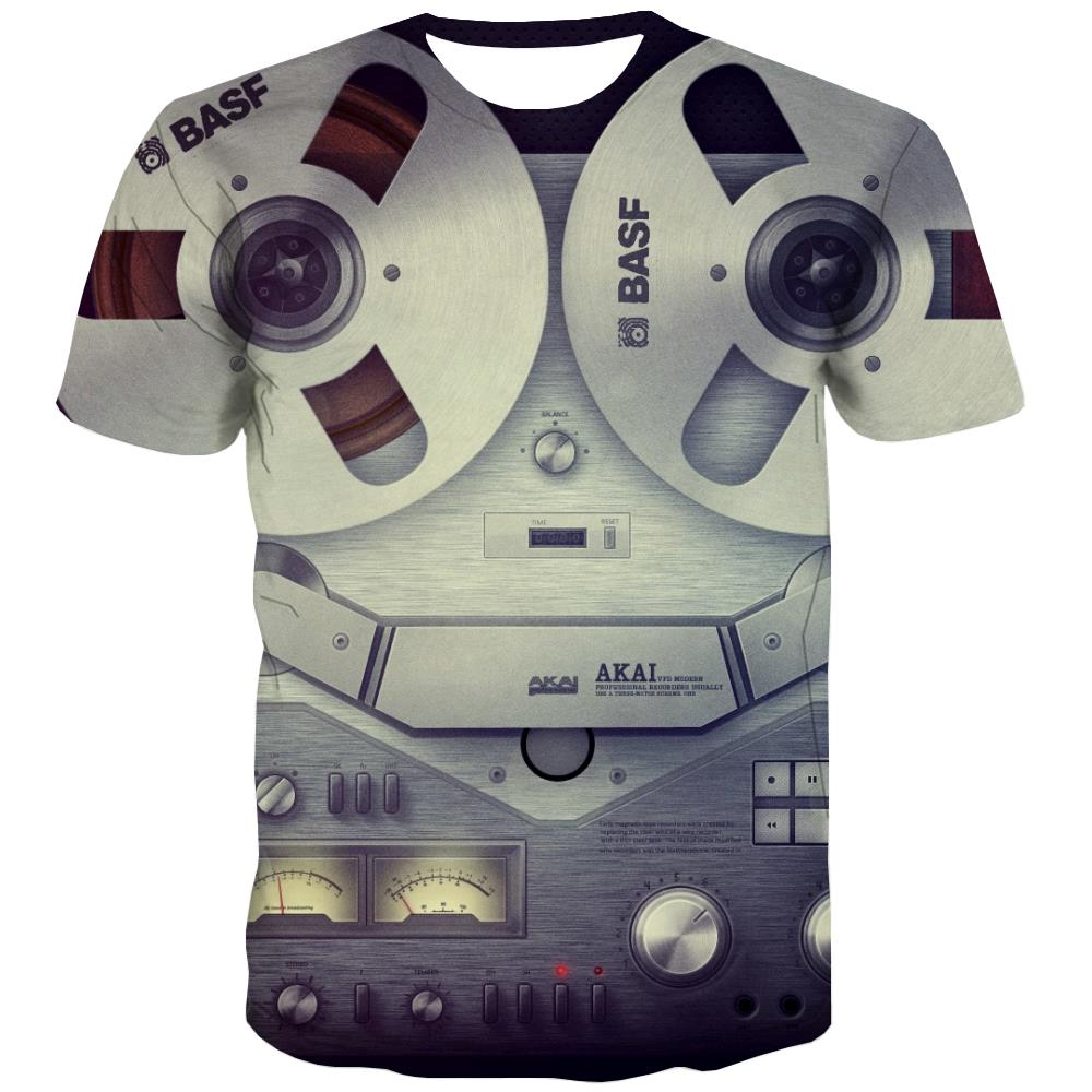 Music T shirts Men Instrument T shirts Funny Retro Tshirt Printed Electronic Tshirt Anime