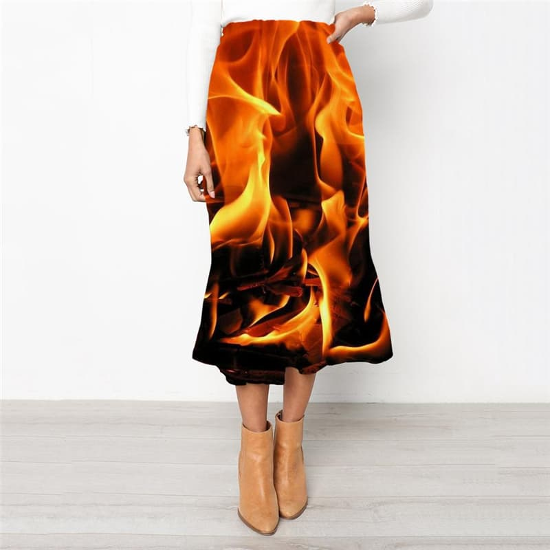 Flame Skirts Women Harajuku Rock Frauen Street Skirt Ladies Womens Clothing