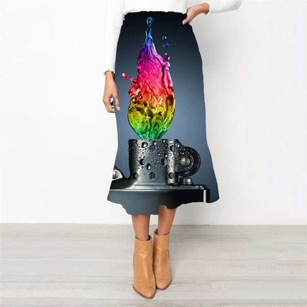 Flame Skirt Women Lighter Skirt Ladies Colorful High waist skirts
