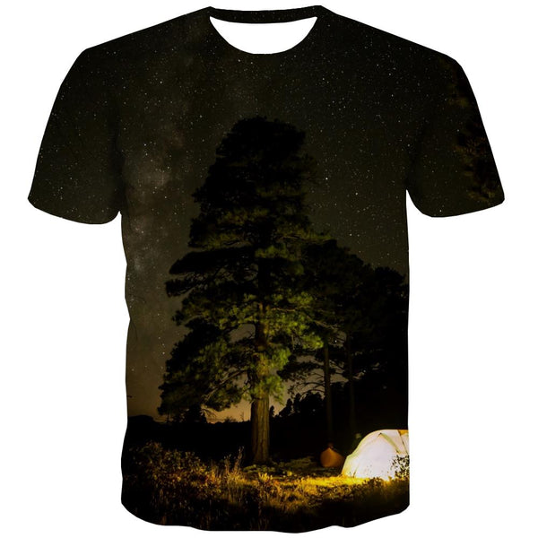 Camping T shirts Men Sunset Tshirts Casual Forest Tshirts Novelty Flame Tshirt Printed