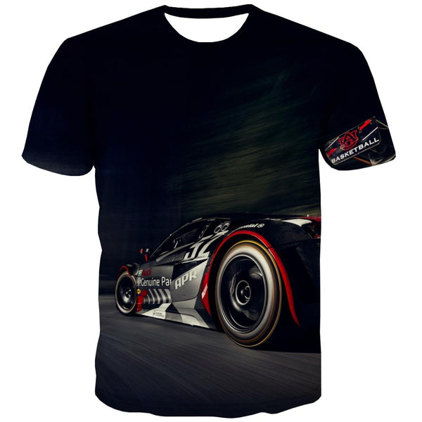 Racing Car T shirts Men Metal T-shirts 3d City T-shirts Graphic Gray T shirts Funny Retro Tshirts Casual