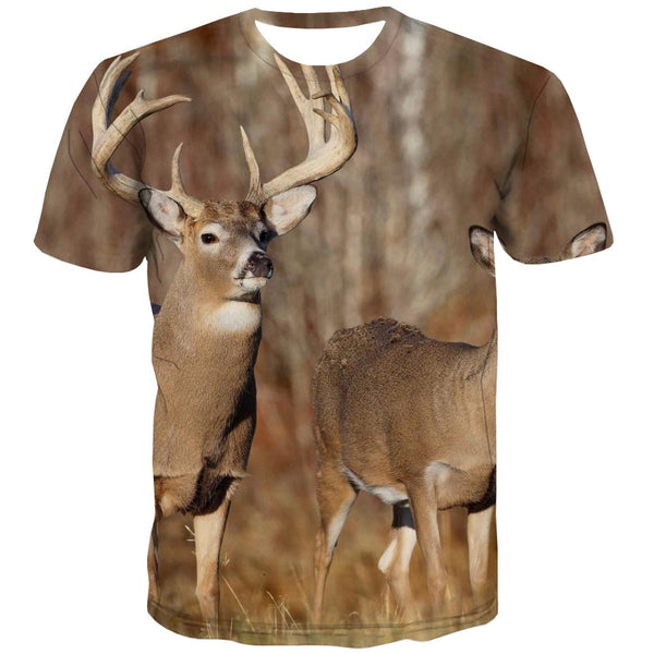 Hunting T-shirt Men Jungle Tshirts Cool Deer Shirt Print Shooter Tshirts Novelty Camouflage Tshirts Casual
