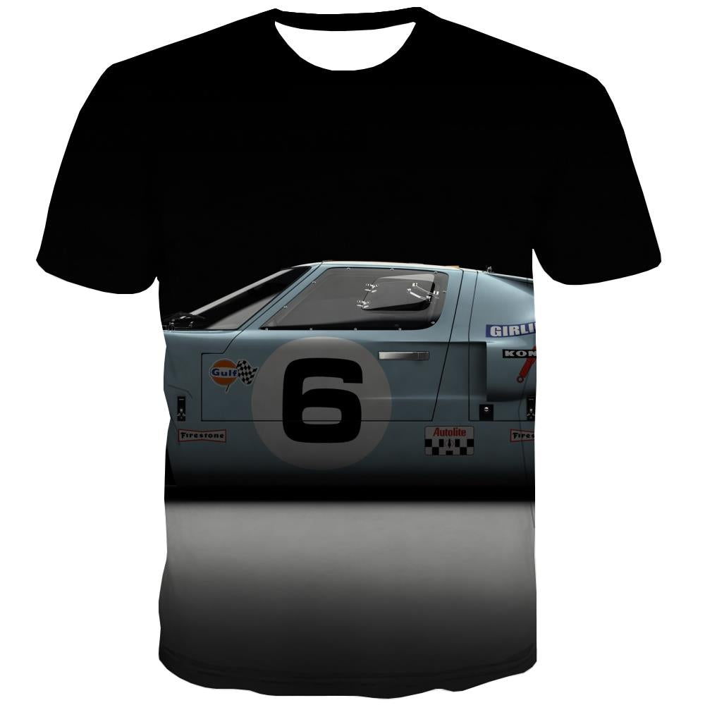 Racing Car T shirts Men Metal Tshirt Anime City T-shirts Graphic Gray Tshirt Printed Retro T-shirts 3d