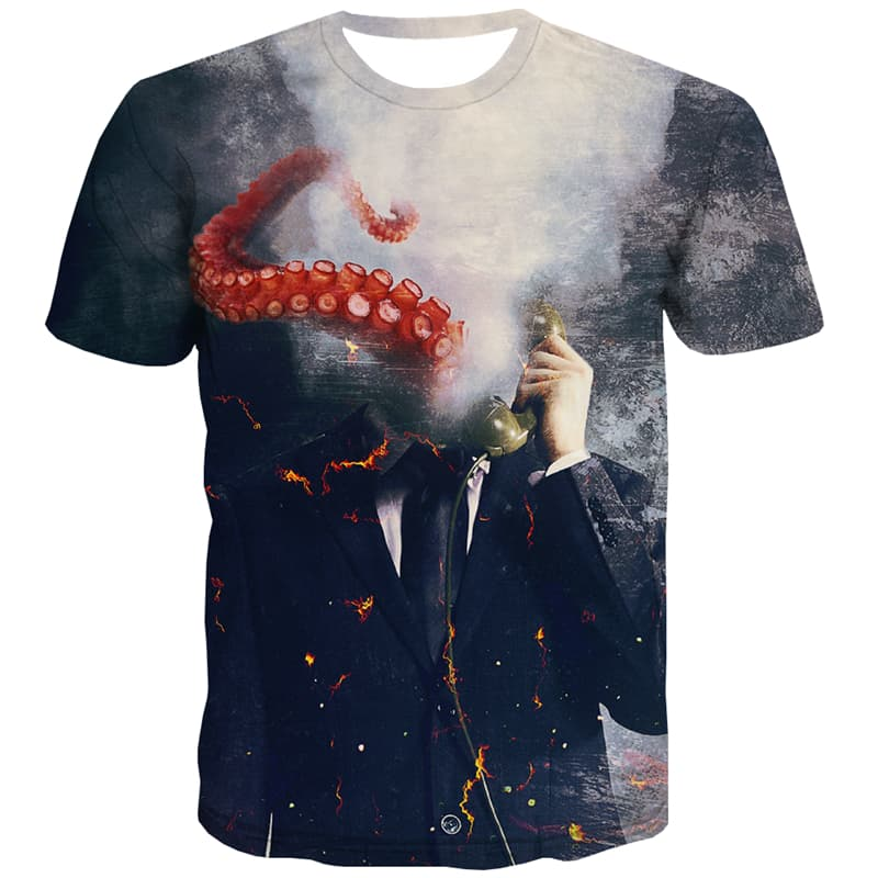 Abstract T-shirt Men Flame T-shirts 3d Phone Tshirts Novelty Psychedelic Tshirt Anime