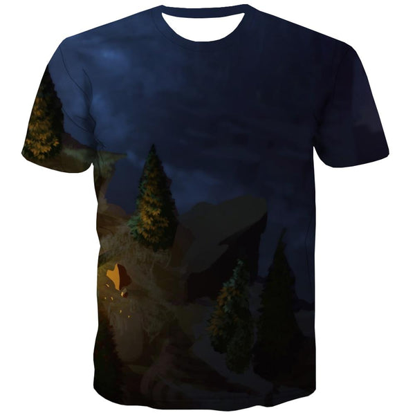Camping T-shirt Men Sunset T-shirts 3d Forest T shirts Funny Flame Tshirts Novelty
