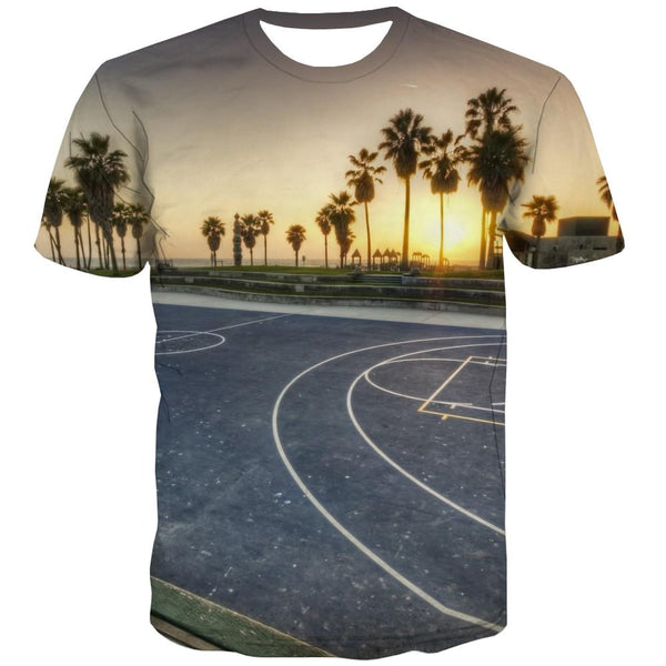 Basketball T shirts Men Night View Tshirts Casual Galaxy Tshirts Cool City Tshirt Printed