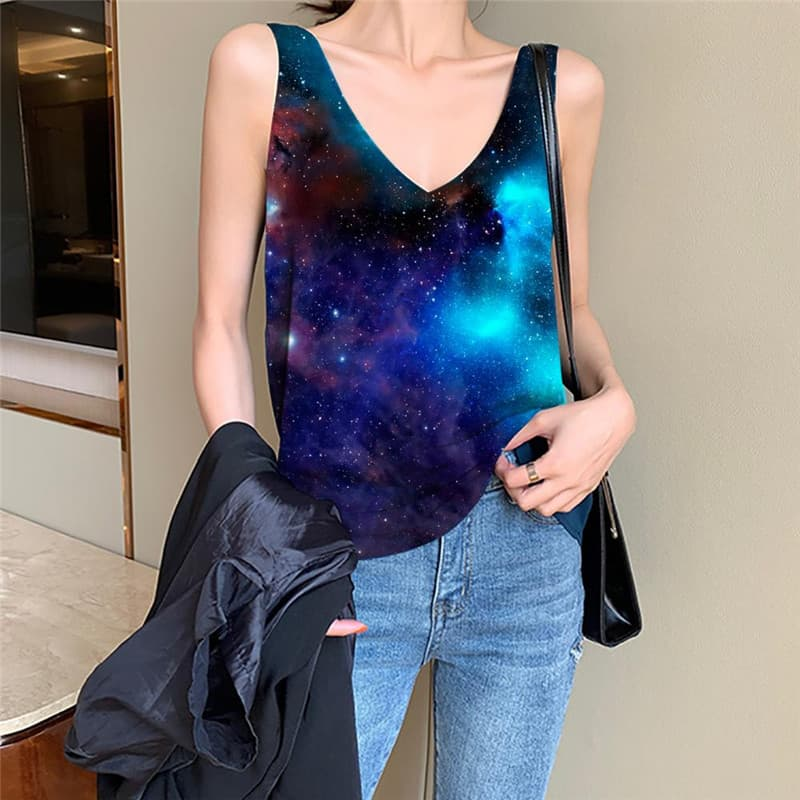 Galaxy Tank-Top women Space Vest Printed Universe Funny Top Nebula Anime Clothes