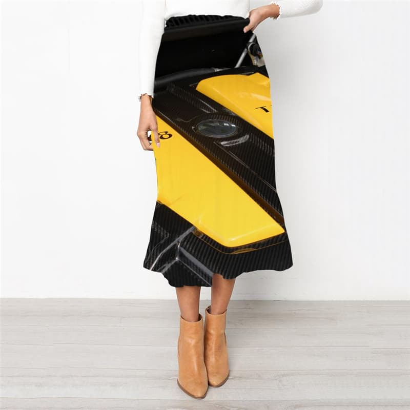 Metal Skirt Women Engine School skirt Gear High waist skirts Engine Rock Frauen
