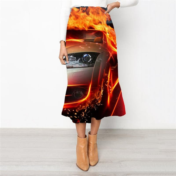 Flame Skirts Women Car School skirt Punk Rock Skirt Ladies Womens Clothing