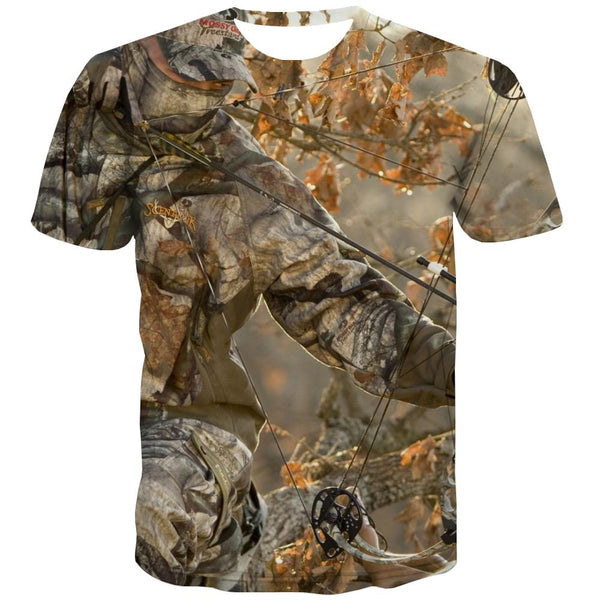 Hunting T-shirt Men Jungle T-shirts 3d Deer Tshirts Cool Shooter T shirts Funny Camouflage Tshirts Casual