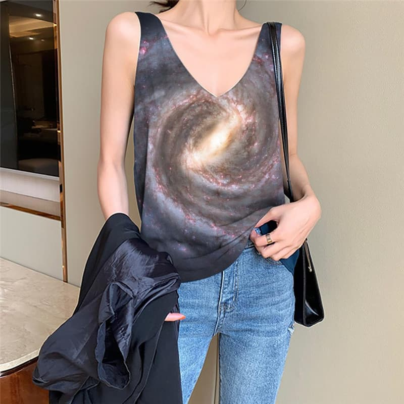 Galaxy Tank Top Women Space Sleeveless 3d Universe Vest Printed Dizziness Anime Clothes