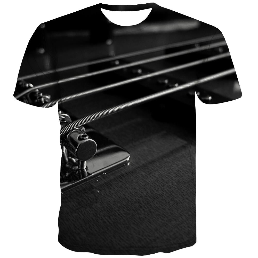 Guitar T shirts Men Music T-shirts Graphic Wooden Shirt Print Metal T shirts Funny