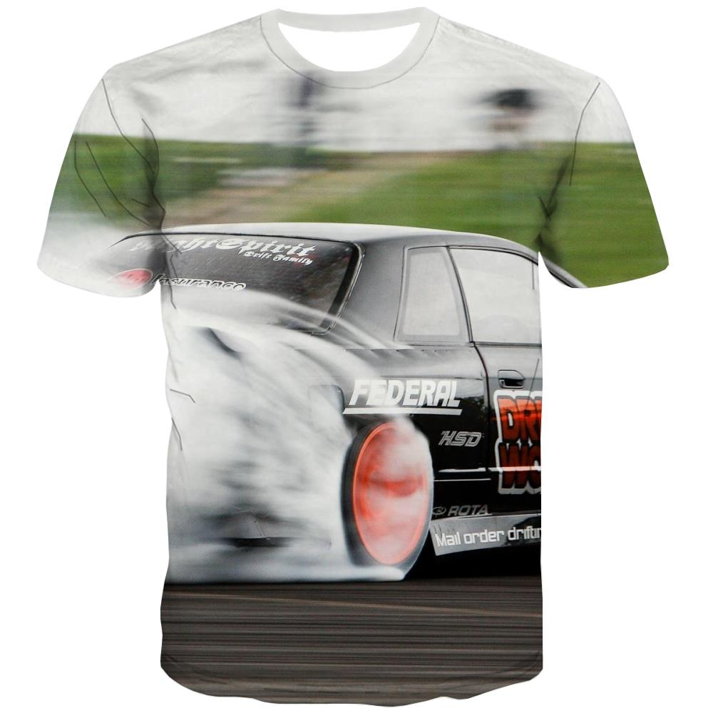 Racing Car T-shirt Men Metal T-shirts 3d City Tshirts Casual Gray Tshirts Novelty Retro Tshirts Cool