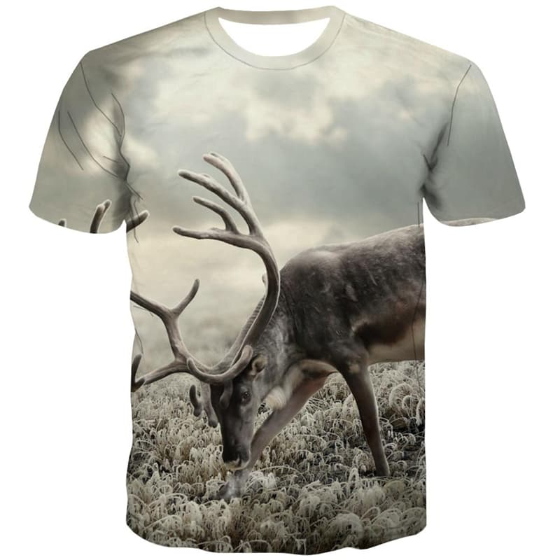 Deer T-shirt Men Animal Tshirts Novelty Landscape Tshirts Casual Short Sleeve