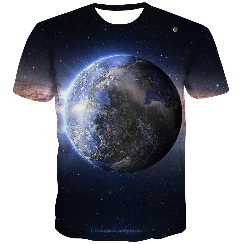 Galaxy T-shirt Men Planet Tshirt Anime Starry Sky Tshirts Novelty Colorful T-shirts Graphic Harajuku Tshirt Printed