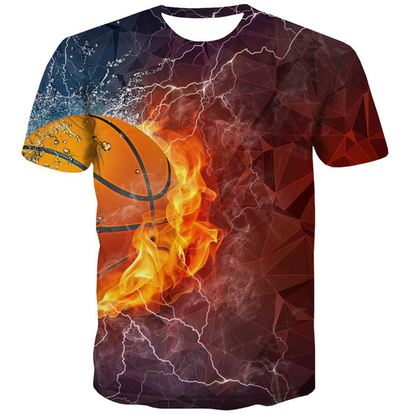Basketball T shirts Men Night View Tshirts Novelty Galaxy T-shirts 3d City Tshirt Anime