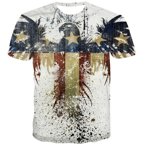 USA T shirts Men Animal Tshirts Casual Raptor Tshirts Cool Fly T-shirts Graphic Eagle T-shirts 3d