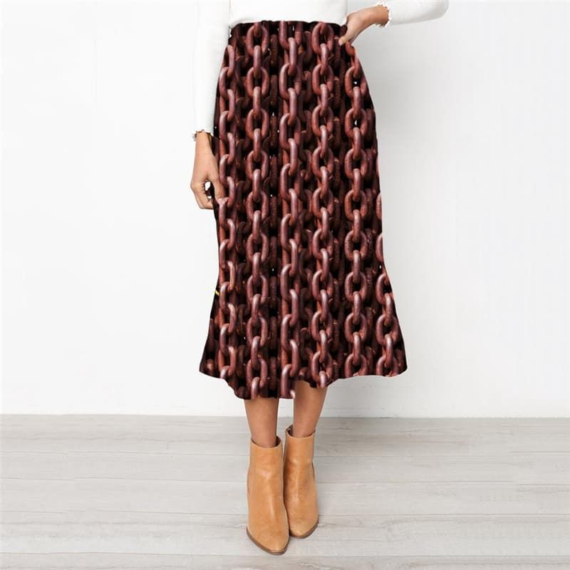 Iron Chain Skirts Women Brown School skirt Metal Rock Frauen Punk Rock High waist skirts