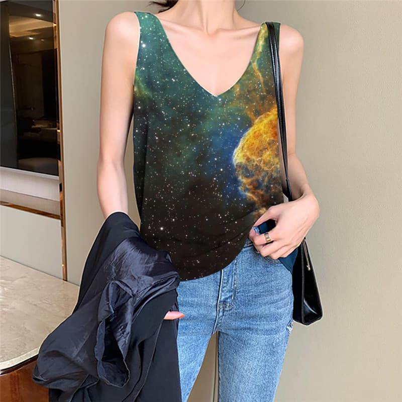 Galaxy Tank-Top women Space Sleeveless 3d Universe Vest Print Colorful Vest Printed