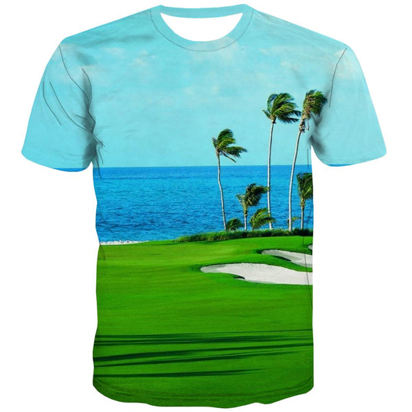 Lawn T shirts Men Golf Shirt Print Forest T-shirts Graphic Natural Tshirt Printed Game Tshirts Casual