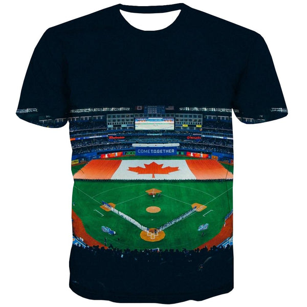 Baseball T-shirt Men Stadium T shirts Funny Game Shirt Print White T-shirts 3d
