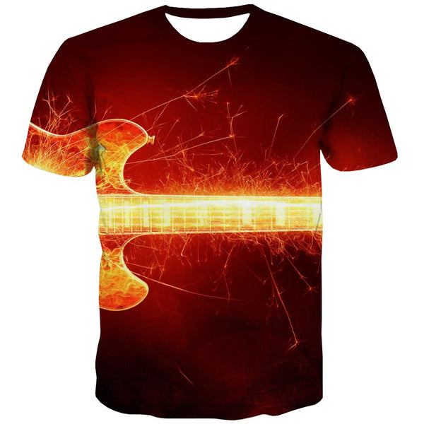 Guitar T-shirt Men Music Tshirt Printed Wooden T shirts Funny Metal Tshirts Cool