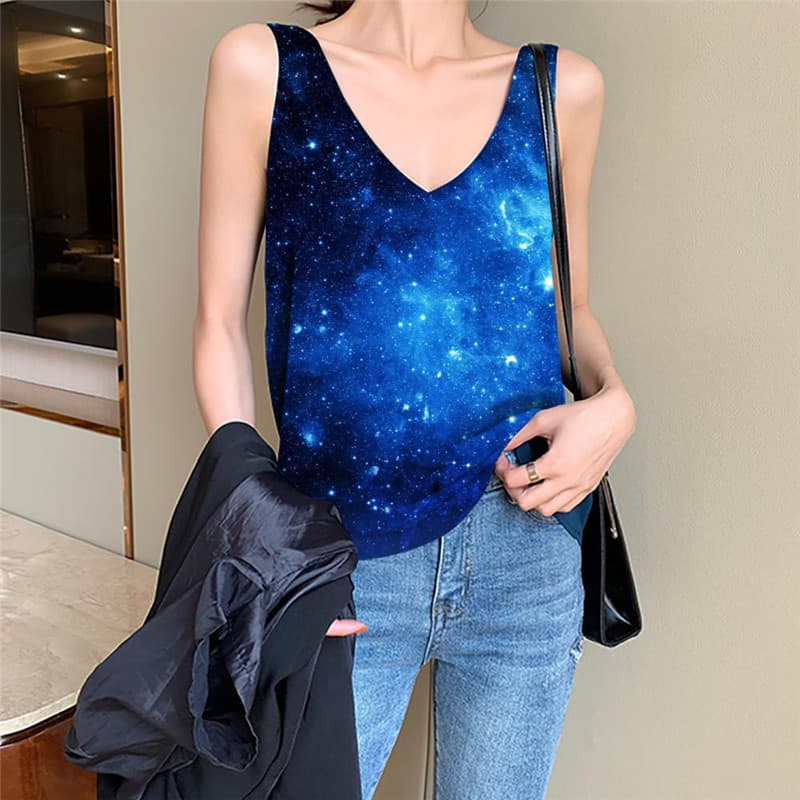 Galaxy Tank-Top women Space Vest Print Universe Vest Printed Womens Clothing