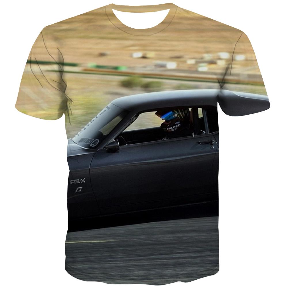 Racing Car T shirts Men Metal T shirts Funny City Tshirts Cool Gray T-shirts 3d Retro Tshirts Casual
