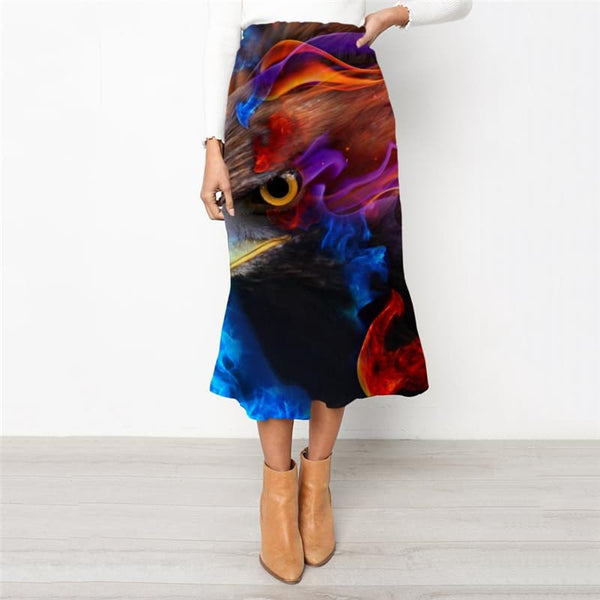 Flame Skirt Women Eagle School skirt Animal High waist skirts Ferocious Skirt Ladies