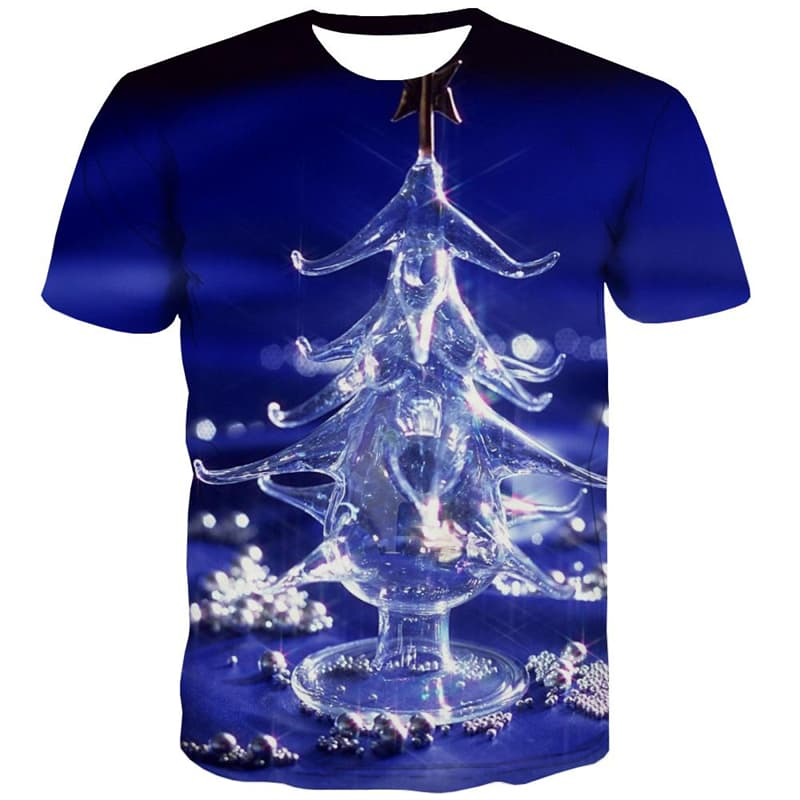 Christmas T-shirt Men Christmas Tree T-shirts Graphic Party T-shirts 3d