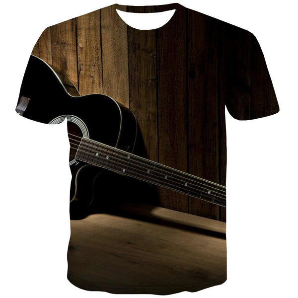 Music T-shirt Men Instrument Shirt Print Retro T-shirts Graphic Electronic Tshirts Casual