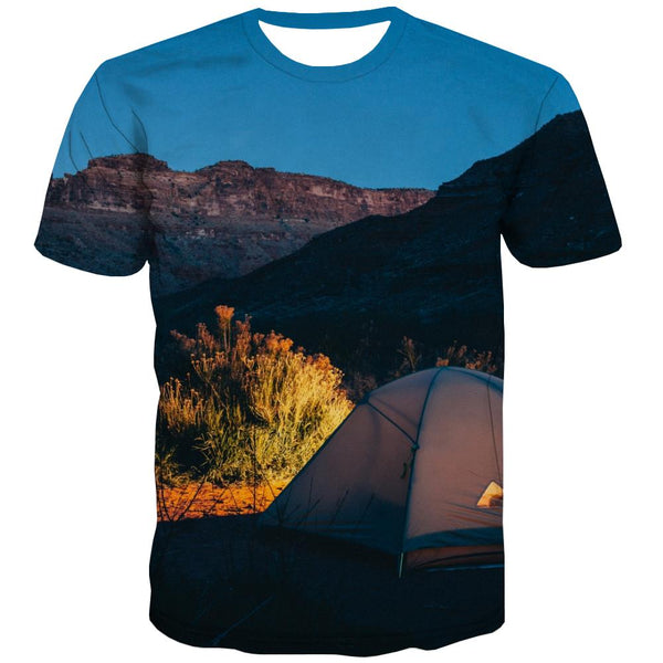 Camping T shirts Men Sunset Tshirt Printed Forest Tshirts Cool Flame Tshirt Anime