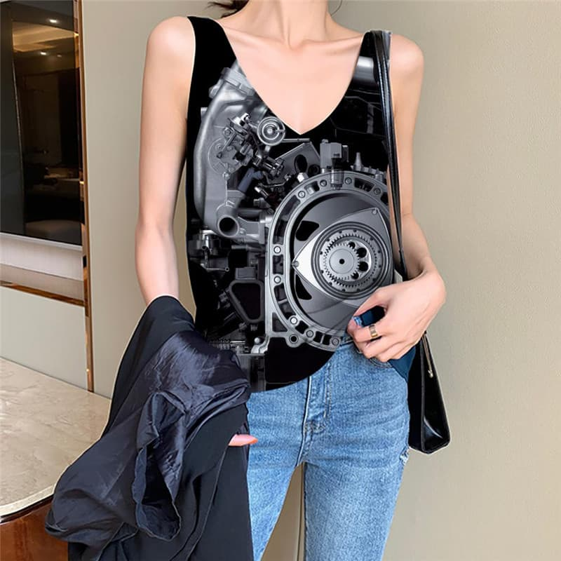 Metal Tank-Top women Engine Vest Printed Gear Funny Top Technology Sleeveless 3d