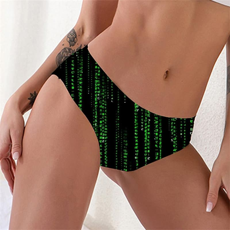 Abstract Briefs Women Digital Seamless Black Knickers Art Pantys