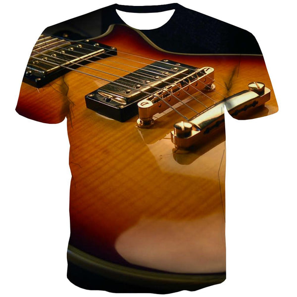 Guitar T shirts Men Music Shirt Print Wooden T-shirts 3d Metal T-shirts Graphic
